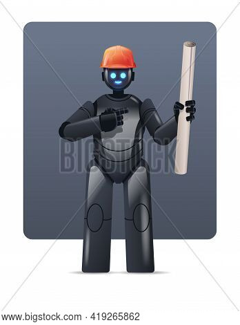 Robot Engineer In Hardhat Holding Construction Drawings Robotic Architect With Blueprints Artificial