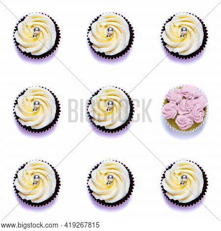 Seamless Pattern With Homemade Cupcakes Isolated On White Background, Homemade Cake With Cream.