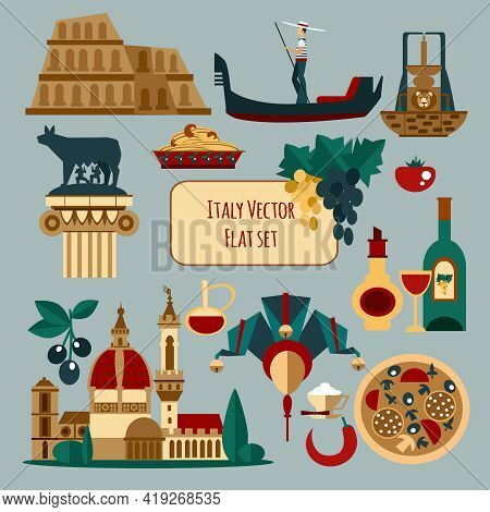 Italy Touristic Set With Olive Pasta Venice Mask Isolated Vector Illustration