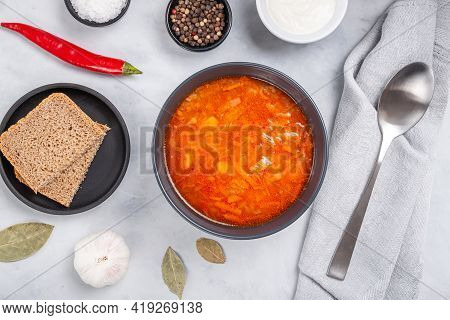 Traditional Ukrainian Russian Soup (borscht) With Bread And Sour Cream. Tasty Beetroot Soup In Bowl.