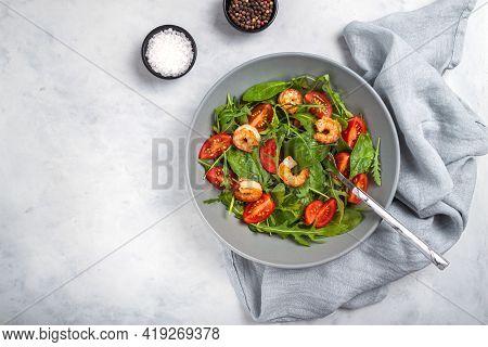 Salad Of Shrimp Prawn And Fresh Vegetable, Leaves Of Arugula, Lettuce. Healthy Salad Plate With Gril