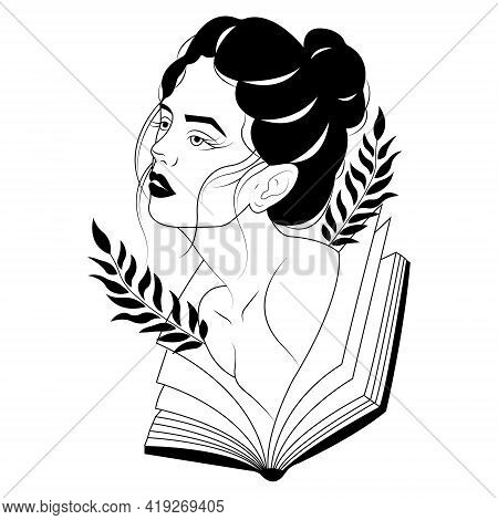 Silhouette Of A Pensive Girl Loving To Read Books. A Symbol Of Curiosity And Wisdom. Decoration Desi