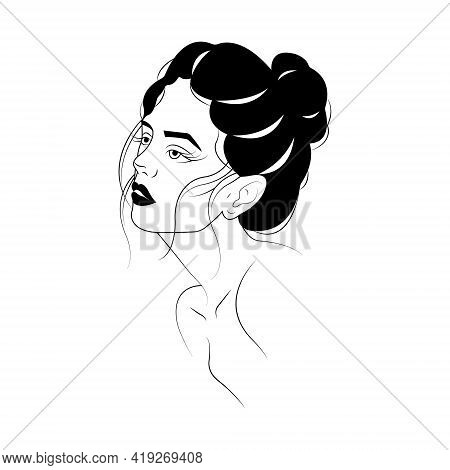 Silhouette Of A Girl's Face With Beautiful Makeup. Minimalism Style. A Symbol Of Beauty And Tenderne