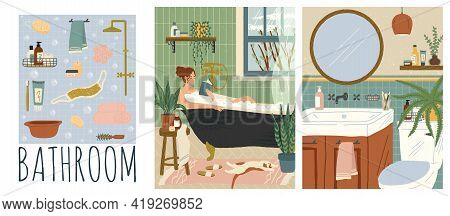 Vector Set Of Bathroom Interiors Hand Drawn Illustrations. Woman Reading Book While Relax In Bath Tu
