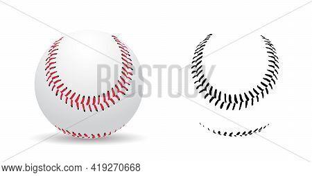 Baseball Stitches On A White Background , Sport Game, Vector Illustration.