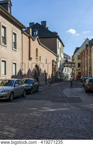 Trier, Germany - July 06, 2018: View Of The Street In The Central Part Of Trier