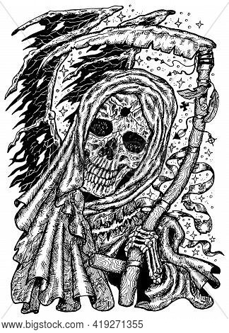 Black And White Engraved Illustration Of Scary Death Skull Or Grim Reaper Holding Scythe. Mystic Bac