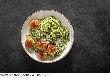 Chicken Meatballs With Spaghetti And Green Kale Cashew Pesto Sauce, Top View