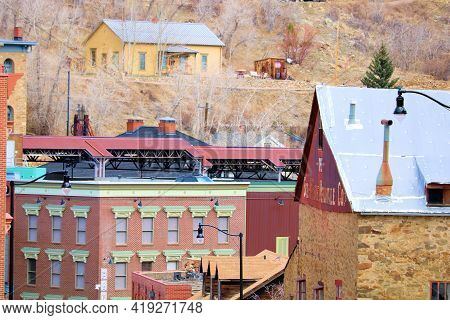 April 25, 2021 In Central City, Co:  Vintage Buildings Nestled In Between Mountain Slopes Taken In T