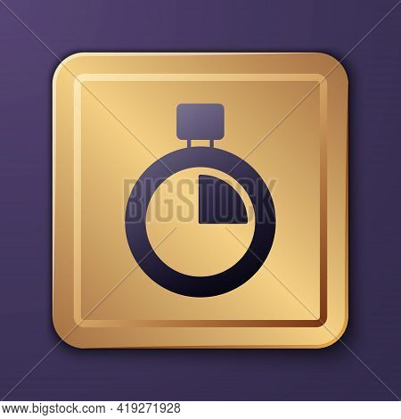 Purple Stopwatch Icon Isolated On Purple Background. Time Timer Sign. Chronometer Sign. Gold Square