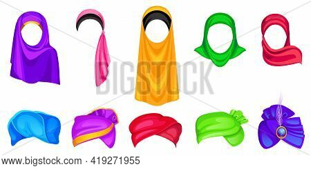 Set Of Turban And Hijab Headwear For Men And Women, Oriental And Indian Wrap Hats Of Different Color