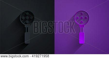 Paper Cut Spatula Icon Isolated On Black On Purple Background. Kitchen Spatula Icon. Bbq Spatula Sig