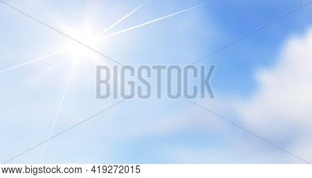 Summer Sunny background, blue sky with sun and lens beam flare