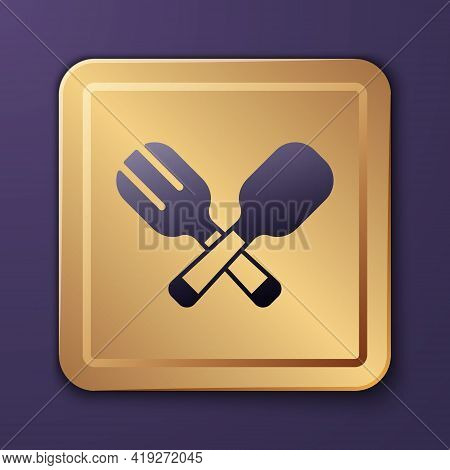 Purple Crossed Fork And Spoon Icon Isolated On Purple Background. Cooking Utensil. Cutlery Sign. Gol