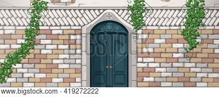 Ivy On Antique Building Facade, Vines With Green Leaves Climbing At Brick Wall Over Ornate Wooden Do