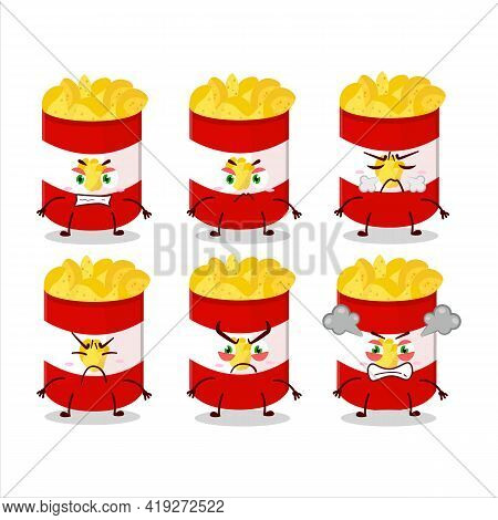 Cup Of Potato Chips Cartoon Character With Various Angry Expressions