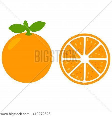 Orange Fruit Icon On White Background. Orange Slice Sign. Orange Peace Symbol. Organic Fruit. Flat S