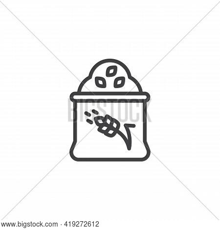 Wheat Flour Sack Line Icon. Linear Style Sign For Mobile Concept And Web Design. Flour Bag Outline V