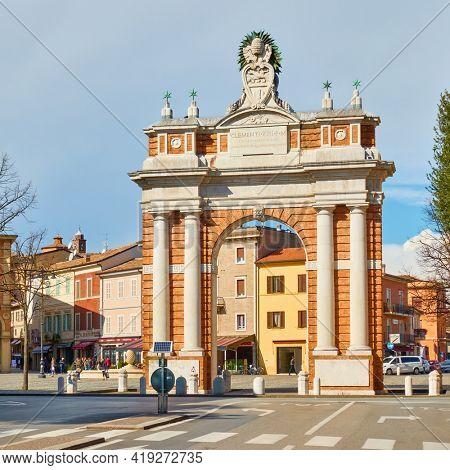 Santarcangelo di Romagna town, Emilia-Romagna, Italy - February 26, 2020: Arco Ganganelli in Santarcangelo di Romagna