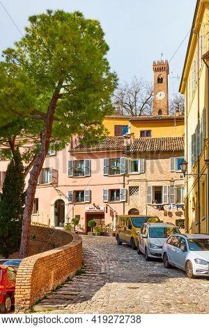 Santarcangelo di Romagna,  Italy - February 26, 2020: Old street in Santarcangelo di Romagna town in Rimini province. Italian cityscape