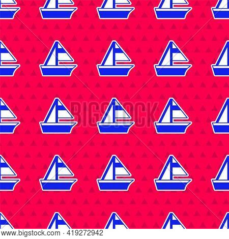 Blue Yacht Sailboat Or Sailing Ship Icon Isolated Seamless Pattern On Red Background. Sail Boat Mari