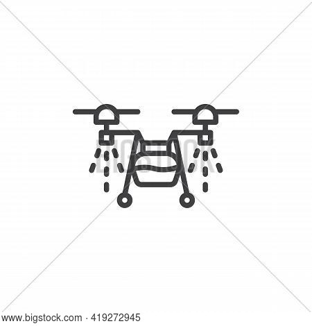 Agricultural Spraying Drone Line Icon. Linear Style Sign For Mobile Concept And Web Design. Agricult