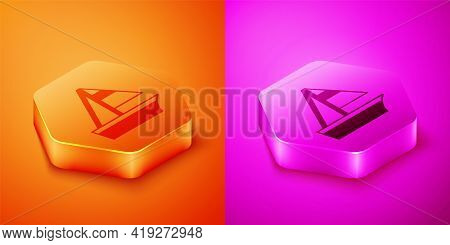 Isometric Yacht Sailboat Or Sailing Ship Icon Isolated On Orange And Pink Background. Sail Boat Mari