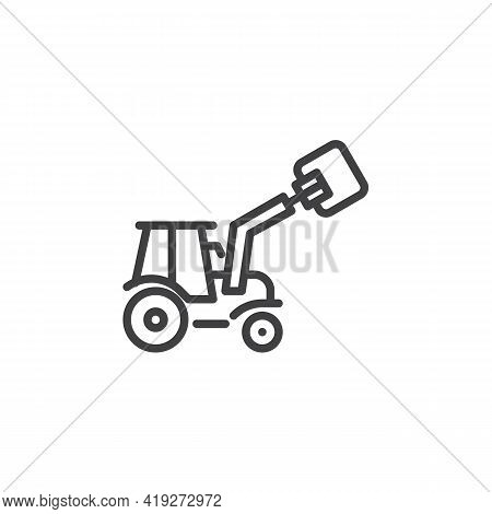 Agricultural Tractor Machine Line Icon. Linear Style Sign For Mobile Concept And Web Design. Tractor