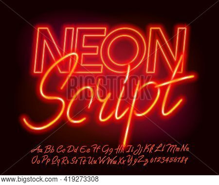 Neon Script Font. Neon Color Letters And Numbers. Uppercase And Lowercase. Stock Vector Typescript F