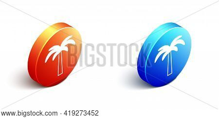 Isometric Tropical Palm Tree Icon Isolated On White Background. Coconut Palm Tree. Orange And Blue C