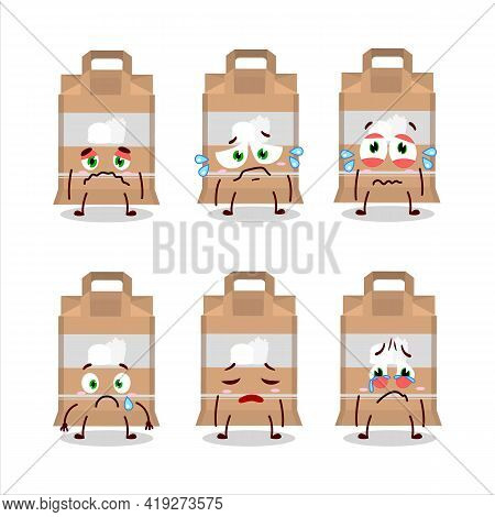 Fast Food Bag Cartoon Character With Sad Expression