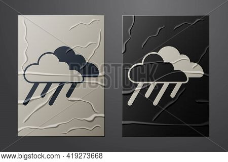 White Cloud With Rain Icon Isolated On Crumpled Paper Background. Rain Cloud Precipitation With Rain