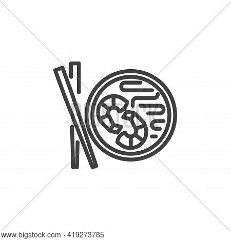 Pad Thai Line Icon. Linear Style Sign For Mobile Concept And Web Design. Thai Food Plate Outline Vec