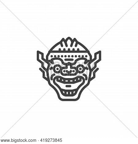 Thai Mask Line Icon. Linear Style Sign For Mobile Concept And Web Design. Thai Giant Monster Mask Ou