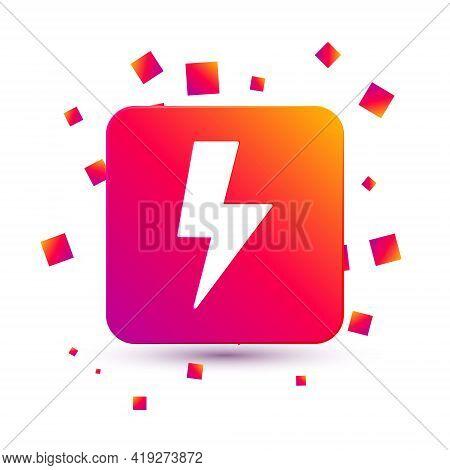 White Lightning Bolt Icon Isolated On White Background. Flash Sign. Charge Flash Icon. Thunder Bolt.