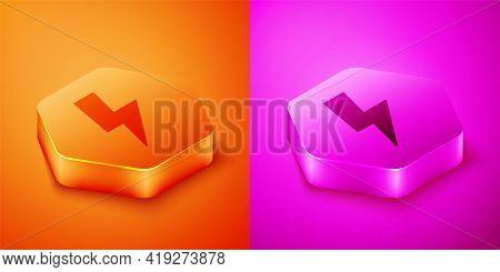 Isometric Lightning Bolt Icon Isolated On Orange And Pink Background. Flash Sign. Charge Flash Icon.