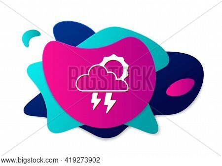 Color Storm Icon Isolated On White Background. Cloud With Lightning And Sun Sign. Weather Icon Of St