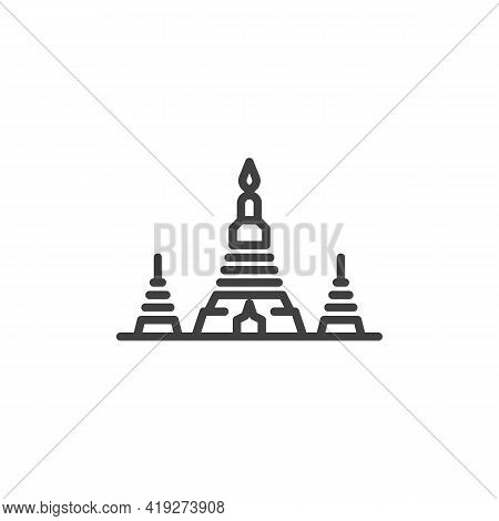 Wat Arun Temple Line Icon. Linear Style Sign For Mobile Concept And Web Design. Thai Temple Of Dawn