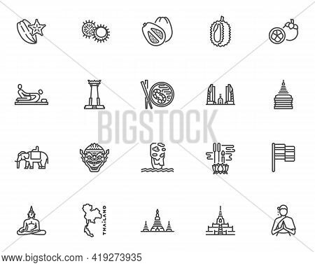 Thai Culture Line Icons Set. Linear Style Symbols Collection, Outline Signs Pack. Thailand Travel Ve
