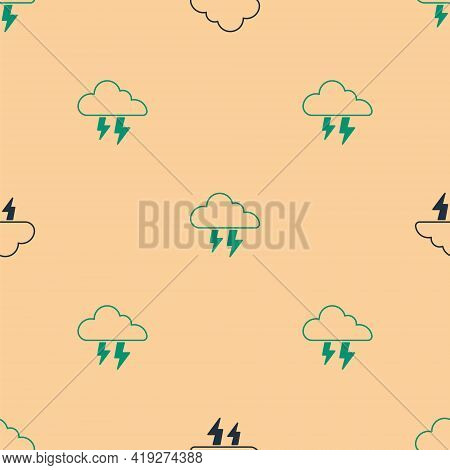 Green And Black Storm Icon Isolated Seamless Pattern On Beige Background. Cloud And Lightning Sign.
