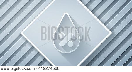 Paper Cut Water Drop Percentage Icon Isolated On Grey Background. Humidity Analysis. Paper Art Style