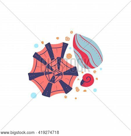 Cartoon Illustration Of Seashells With Sand And Bubbles On A White Background. Flat Drawing Ocean In