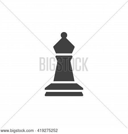 Bishop Chess Vector Icon. Filled Flat Sign For Mobile Concept And Web Design. Chess Piece Glyph Icon