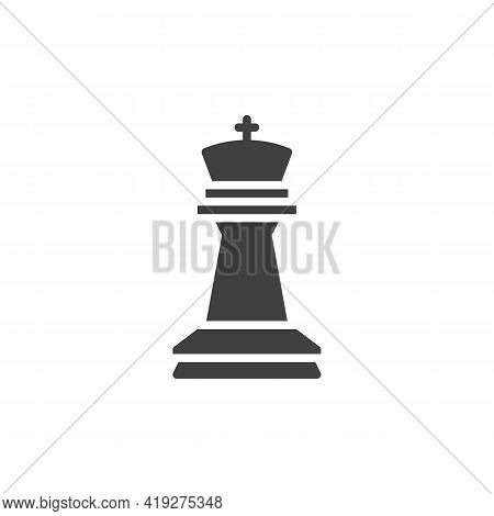 King Chess Piece Vector Icon. Filled Flat Sign For Mobile Concept And Web Design. King Figure Glyph