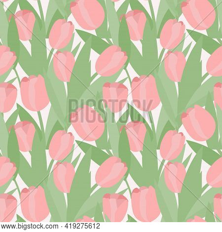 Seamless Pattern Of Abstract Tulips. Vector Pink Tulip Buds With Green Leaves.