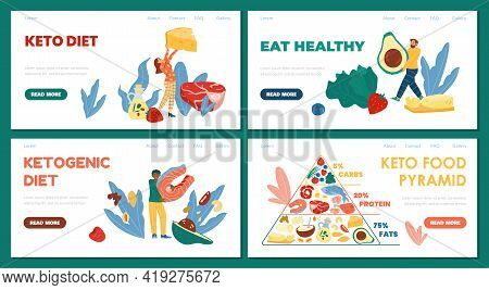 Ketogenic Diet Or Keto Dietetic System Web Banners, Flat Vector Illustration.