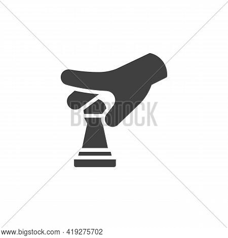 Hand Move The Pawn Chess Vector Icon. Filled Flat Sign For Mobile Concept And Web Design. Hand Holdi