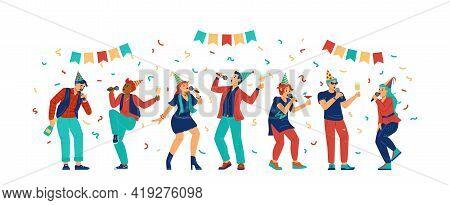 People In Birthday Hats Singing In Karaoke, Flat Vector Illustration Isolated.