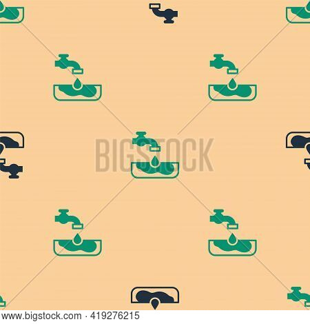 Green And Black Water Problem Icon Isolated Seamless Pattern On Beige Background. Poor Countries Env