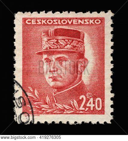 ZAGREB, CROATIA - SEPTEMBER 18, 2014: Stamp printed in Czechoslovakia shows General Milan Stefanik, Slovak Politician, Diplomat and Astronomer, circa 1945